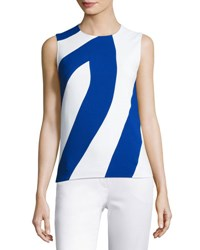Narciso Rodriguez Bicolor Crepe Sleeveless Top White