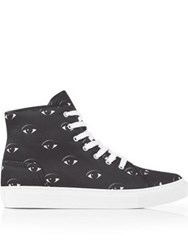 Kenzo Eye Print High Top Lace Up Trainer Black