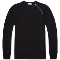 Saint Laurent Single Zip Crew Knit Black