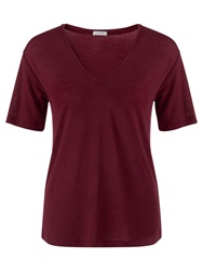Jigsaw Wool Mix V Neck T Shirt Bordeaux