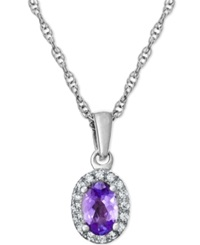 Macy's Tanzanite 1 2 Ct. T.W. And Diamond Accent Pendant Necklace In 14K White Gold