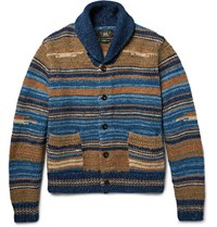 Rrl Shawl Collar Striped Cotton Blend Cardigan Blue