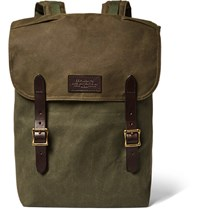 Filson Ranger Leather Trimmed Twill Backpack Army Green