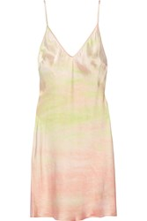 Raquel Allegra Tie Dyed Silk Satin Slip Dress Pastel Pink Yellow