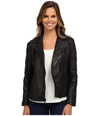Dkny Leather Jacket Noir Women's Coat Black