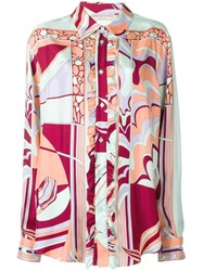 Emilio Pucci Mirei Ruffle Front Silk Shirt Orange
