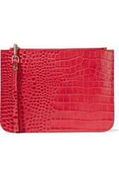 Iris And Ink Ned Croc Effect Leather Pouch Red