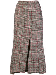 Mcq By Alexander Mcqueen Checked Print Fitted Skirt Black