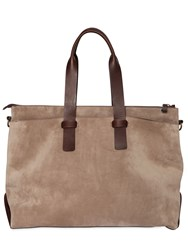 Officine Creative Suede And Leather Duffle Bag