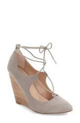 Charles By Charles David Women's Ima Ghillie Lace Wedge Stone Grey Microsuede