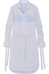 Tibi Striped Cotton Poplin Dress Blue