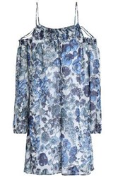 Bailey 44 Cold Shoulder Floral Print Georgette Mini Dress Blue
