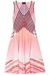Missoni Paneled Pointelle And Crochet Knit Dress Pink
