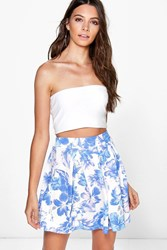 Boohoo Soft Floral Box Pleat Skater Skirt Lilac