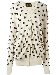 Vivienne Westwood Anglomania Pom Pom Details Cardigan Nude And Neutrals