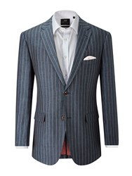 Skopes Men's Geneva Linen Stripe Blazer Blue