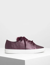 Charles And Keith Metallic Sneakers Purple