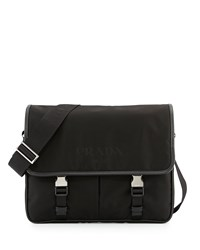 Prada Men's Large Nylon Messenger Bag Black