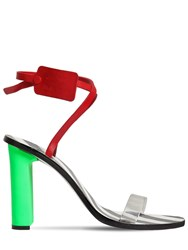 Off White 90Mm Zip Tie Leather And Plexi Sandals Red Multi