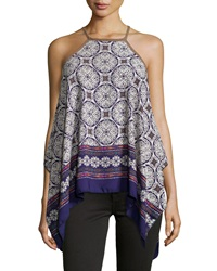 Romeo And Juliet Couture Medallion Print Chiffon Tank Purple White