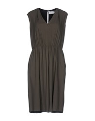 Pomandere Knee Length Dresses Military Green