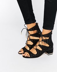 Truffle Collection Adley Ghillie Bootie Heeled Sandals Black Mf