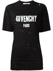 Givenchy Distressed Logo T Shirt Black