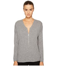 The Kooples Sweater With A Zip Neckline In Wool And Cashmere Grey 1 Women's Sweater Gray