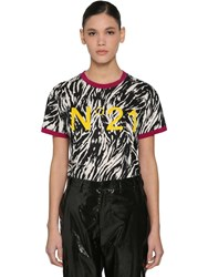 N 21 Animalier Logo Printed Cotton T Shirt Black