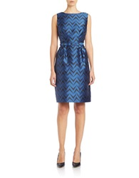 Anne Klein Chevron Stripe Fit And Flare Dress Raven Blue