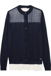 Vionnet Two Tone Wool Cashmere And Silk Blend Cardigan Midnight Blue
