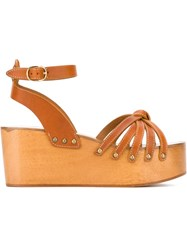 Isabel Marant 'Zia' Wedge Sandals Brown