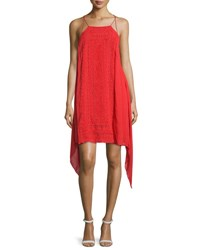 Alice Olivia Bev Embroidered Handkerchief Hem Dress