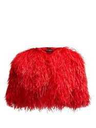 Dolce And Gabbana Cropped Feather Bolero Jacket Red