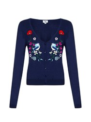 Yumi Floral Bird Embroidered Cardigan Navy