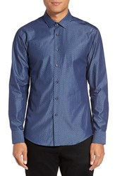 Vince Camuto Men's Trim Fit Print Sport Shirt Indigo Diamond Dobby