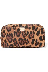 Dolce And Gabbana Leopard Print Shell Cosmetics Case Brown