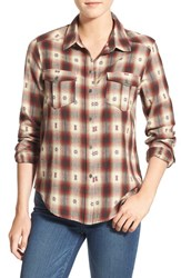 Paige Women's Denim 'Mya' Plaid Shirt Dusty Brown Scarlet