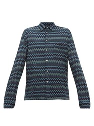 Missoni Zigzag Patterned Knitted Wool Blend Shirt Blue