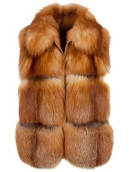 Liska Fox Fur Gilet Brown