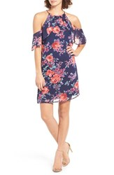 One Clothing Women's Floral Print Cold Shoulder Dress Navy