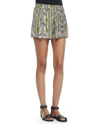 Ella Moss Chevron Print Pull On Shorts Black