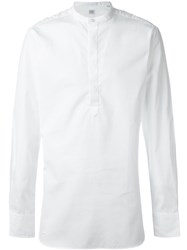 E. Tautz 'Core' Grandad Neck Button Down Shirt White