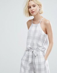 Native Youth Cami Crop Top In Large Gingham Co Ord Grey