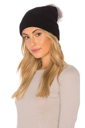 Plush Vegan Cashmere Beanie With Faux Fur Pom Black