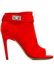 Givenchy Shark Tooth Open Toe Ankle Boots Red