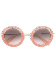 Miu Miu Crystals Round Frame Sunglasses Pink And Purple