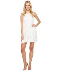Tahari By Arthur S. Levine Leather And Lace Dress White Women's Dress