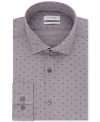 Calvin Klein Men's Slim Fit Steel Non Iron Performance Logo Print Dress Shirt Dark Purple