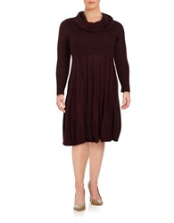 Calvin Klein Plus Cowlneck Fit And Flare Sweater Dress Aubergine